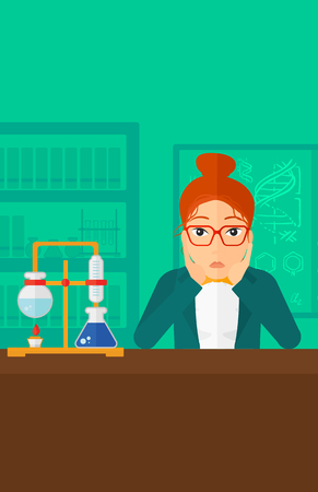 female student: A woman in despair clutching her head on the background of chemistry laboratory vector flat design illustration. Vertical layout.