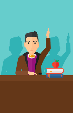 A man raising his hand while sitting at the table on a blue backgrond vector flat design illustration. Vertical layout.