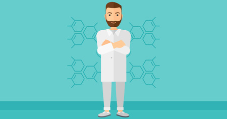 crossed arms: Male laboratory assistant on a blue background with molecular structure vector flat design illustration. Horizontal layout.
