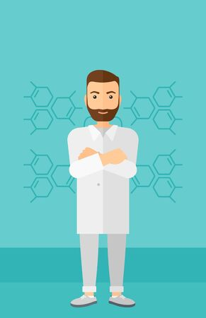 assistant: Male laboratory assistant on a blue background with molecular structure vector flat design illustration. Vertical layout.