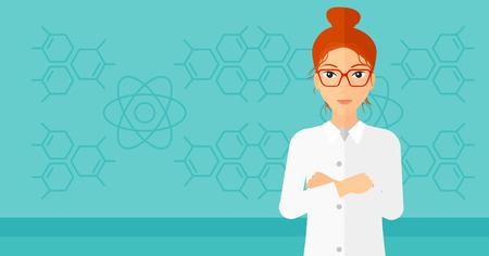 estudiantes medicina: ayudante de laboratorio de sexo femenino en un fondo azul con estructura molecular ilustración vectorial diseño plano. disposición horizontal.