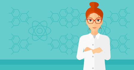 worker cartoon: Female laboratory assistant on a blue background with molecular structure vector flat design illustration. Horizontal layout.
