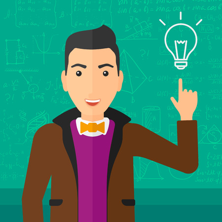 A man pointing a finger at the light bulb on the background of green blackboard with mathematical equations vector flat design illustration. Square layout.