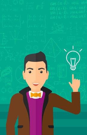 human energy: A man pointing a finger at the light bulb on the background of green blackboard with mathematical equations vector flat design illustration. Vertical layout.