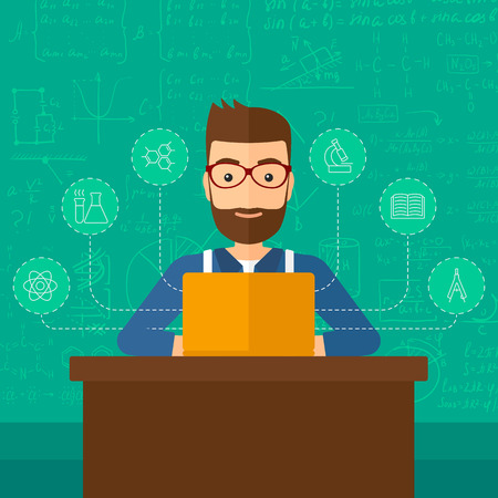 A hipster man with the beard sitting at the table and working on a laptop connected with icons of school sciences on the background of green blackboard vector flat design illustration. Square layout.