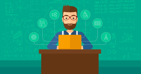 science icons: A hipster man with the beard sitting at the table and working on a laptop connected with icons of school sciences on the background of green blackboard vector flat design illustration. Horizontal layout.