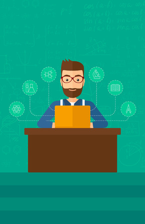 computer science: A hipster man with the beard sitting at the table and working on a laptop connected with icons of school sciences on the background of green blackboard vector flat design illustration. Vertical layout. Illustration