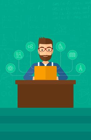 hombre caricatura: Un hombre inconformista de la barba sentado en la mesa y trabajando en un ordenador port�til conectado con los iconos de las ciencias de la escuela en el fondo de la pizarra verde ilustraci�n vectorial dise�o plano. disposici�n vertical. Vectores