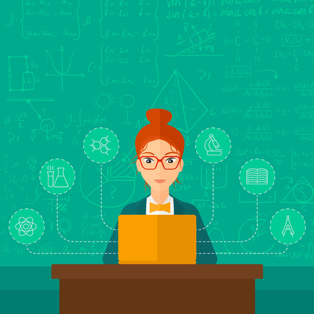 computer science: A woman sitting at the table and working on a laptop connected with icons of school sciences on the background of green blackboard vector flat design illustration. Square layout. Illustration