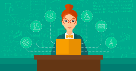computer screen: A woman sitting at the table and working on a laptop connected with icons of school sciences on the background of green blackboard vector flat design illustration. Horizontal layout. Illustration