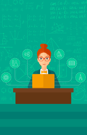 science icons: A woman sitting at the table and working on a laptop connected with icons of school sciences on the background of green blackboard vector flat design illustration. Vertical layout.