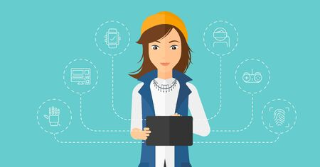 female student: A woman with a tablet computer and some icons connected to the device on a light blue background vector flat design illustration. Horizontal layout. Illustration