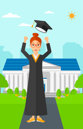 woman throwing: A happy woman throwing up her hat on the background of educational building vector flat design illustration. Vertical layout. Stock Photo
