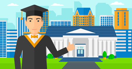 student studying: A man in cloak and hat showing thumb up sign on the background of educational building vector flat design illustration. Horizontal layout.
