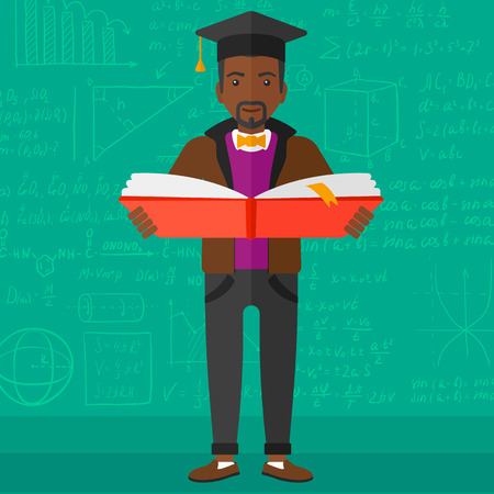 african student: An african-american man in graduation cap with an open book in hands on a background of green blackboard with mathematical equations vector flat design illustration. Square layout.