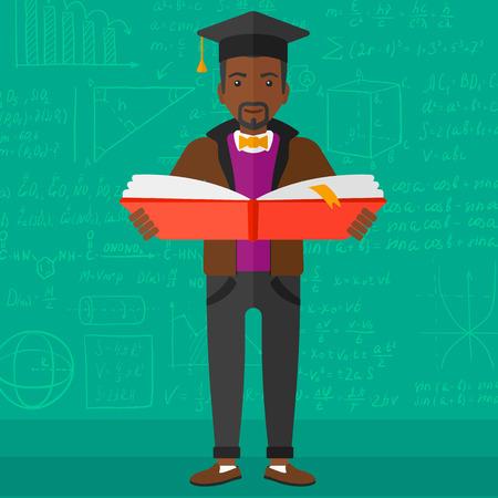 graduacion caricatura: Un hombre afroamericano en el casquillo de la graduaci�n con un libro abierto en las manos sobre un fondo de pizarra verde con ecuaciones matem�ticas Ilustraci�n del vector del dise�o plano. de planta cuadrada.