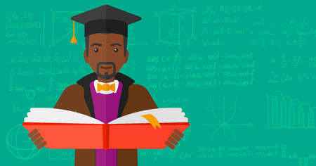 cartoon graduation: An african-american man in graduation cap with an open book in hands on a background of green blackboard with mathematical equations vector flat design illustration. Horizontal layout.