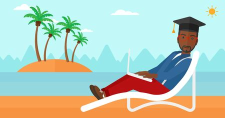 student computer: An african-american man in graduation cap lying in chaise long with laptop on the beach vector flat design illustration. Horizontal layout.