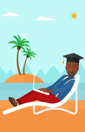 cartoon graduation: An african-american man in graduation cap lying in chaise long with laptop on the beach vector flat design illustration. Vertical layout. Illustration