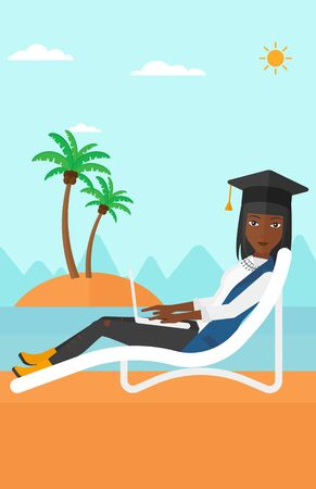 An african-american woman in graduation cap lying in chaise long with laptop on the beach vector flat design illustration.  Vertical layout.