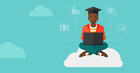 graduation cartoon: An african-american man sitting on the cloud with a laptop and some icons connected to the laptop on the background of blue sky vector flat design illustration. Horizontal layout.