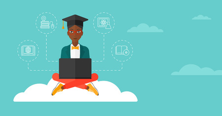 woman laptop: An african-american woman sitting on the cloud with a laptop and some icons connected to the laptop on the background of blue sky vector flat design illustration. Horizontal layout.