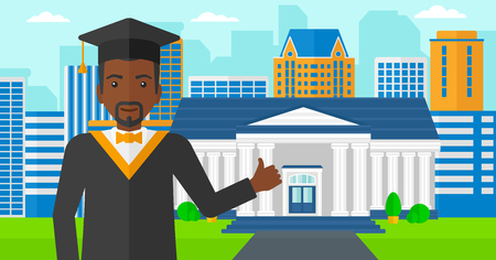 qualified: An african-american man in cloak and hat showing thumb up sign on the background of educational building vector flat design illustration. Horizontal layout.