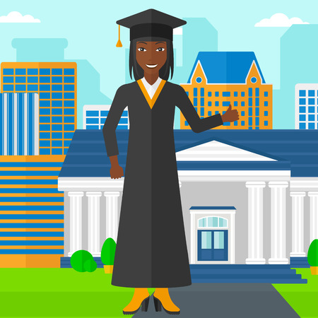 female student: An african-american woman in cloak and hat showing thumb up sign on the background of educational building vector flat design illustration. Square layout.