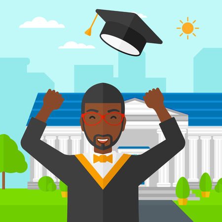 throw up: An african-american graduate throwing up his hat on the background of educational building vector flat design illustration. Square layout.