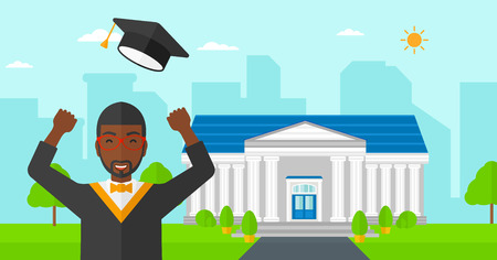 An african-american graduate throwing up his hat on the background of educational building vector flat design illustration. Horizontal layout. Ilustração