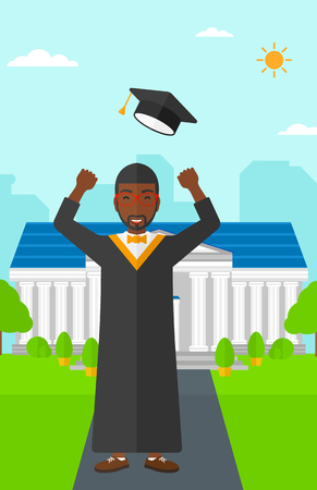 alumnus: An african-american graduate throwing up his hat on the background of educational building vector flat design illustration. Vertical layout.