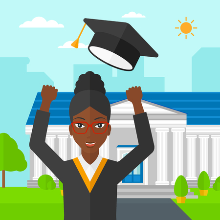 woman throwing: An african-american happy woman throwing up her hat on the background of educational building vector flat design illustration. Square layout. Illustration