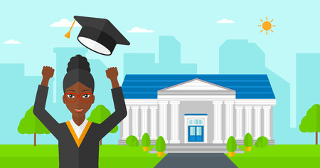 woman throwing: An african-american happy woman throwing up her hat on the background of educational building vector flat design illustration. Horizontal layout.