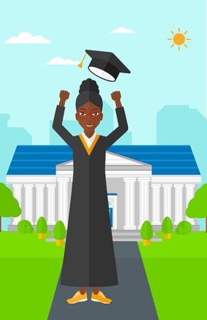 教育の背景に彼女の帽子を投げる、アフリカ系アメリカ人幸せな女は、ベクトル フラット設計図を構築します。縦型レイアウト。