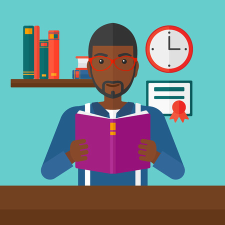inside house: An african-american man reading a book on the background of room vector flat design illustration. Square layout.