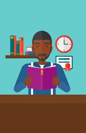 reading room: An african-american man reading a book on the background of room vector flat design illustration. Vertical layout.
