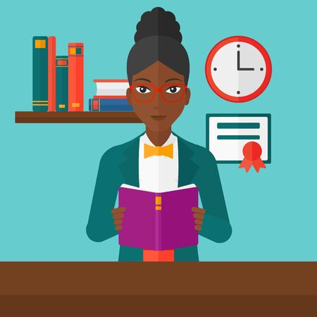 cartoon reading: An african-american woman reading a book on the background of room vector flat design illustration. Square layout. Illustration