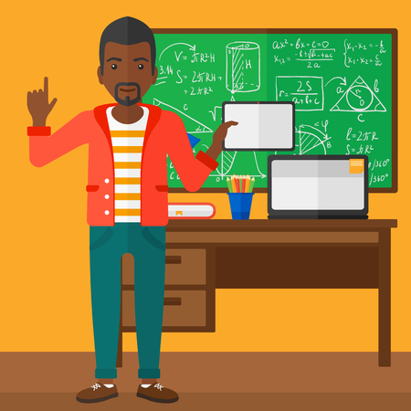 An african-american man standing with a tablet computer and pointing his forefinger up on the background of classroom vector flat design illustration. Square layout.