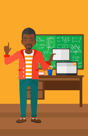 man pointing up: An african-american man standing with a tablet computer and pointing his forefinger up on the background of classroom vector flat design illustration. Vertical layout. Illustration