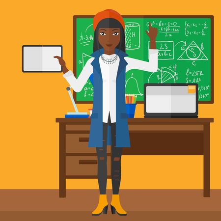 An african-american woman standing with a tablet computer and pointing her forefinger up on the background of classroom vector flat design illustration. Square layout.