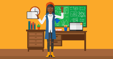 woman pointing up: An african-american woman standing with a tablet computer and pointing her forefinger up on the background of classroom vector flat design illustration. Horizontal layout. Illustration