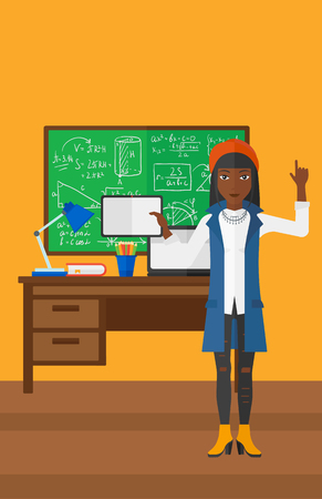 e book device: An african-american woman standing with a tablet computer and pointing her forefinger up on the background of classroom vector flat design illustration. Vertical layout. Illustration