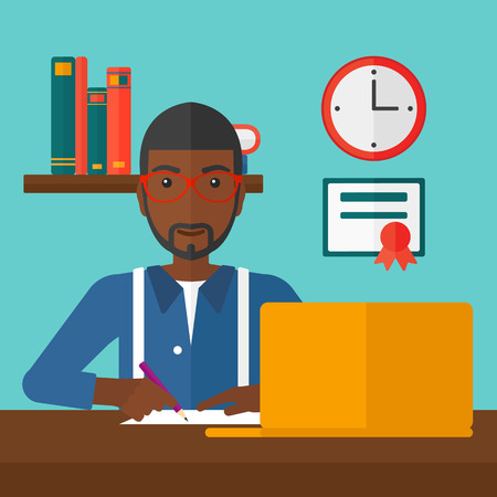 taking notes: An african-american man sitting in front of laptop and taking some notes on the background of room vector flat design illustration. Square layout.