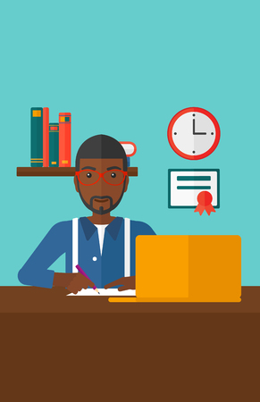 An african-american man sitting in front of laptop and taking some notes on the background of room vector flat design illustration. Vertical layout.