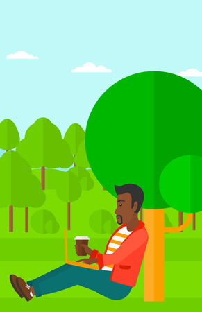 laptop outside: An african-american man with cup of coffee studying in park using a laptop vector flat design illustration. Vertical layout. Illustration