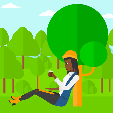 woman using laptop: An african-american woman with cup of coffee studying in park using a laptop vector flat design illustration. Square layout. Illustration