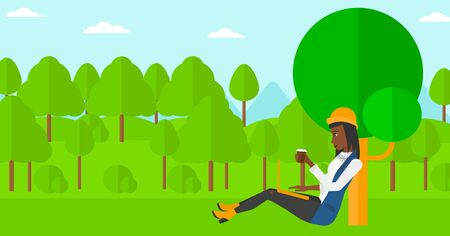 laptop outside: An african-american woman with cup of coffee studying in park using a laptop vector flat design illustration. Horizontal layout.