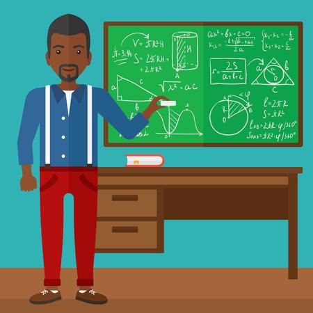 彼の手ベクトル フラット デザイン イラストのチョークと黒板の前に教室で立っているアフリカ系アメリカ人の男。正方形のレイアウト。  イラスト・ベクター素材