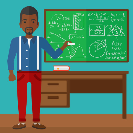 cartoon hands: An african-american man  standing in classroom in front of the blackboard with a piece of chalk in his hand vector flat design illustration. Square layout.