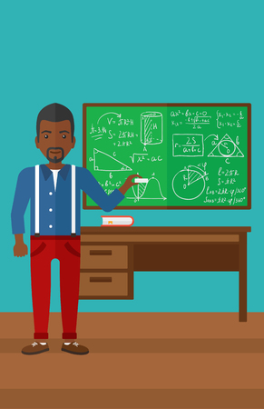 blackboard cartoon: An african-american man standing in classroom in front of the blackboard with a piece of chalk in his hand vector flat design illustration. Vertical layout.